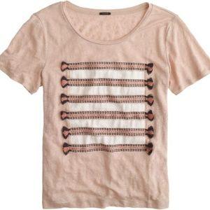 Linen embroidered tassel striped tee